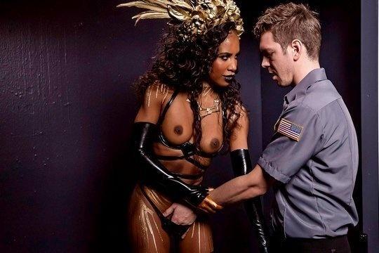 Охранник музея жестко трахнул большим членом красивую негритянку Demi Sutra
